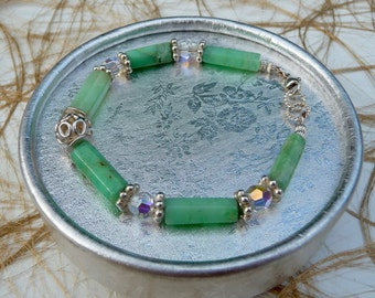 Chrysoprase AAA swarovski crystals Sterling silver bracelet custom made