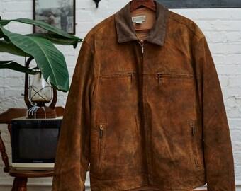 Cool Vintage Brown Rusty Leather/Suede Jacket!