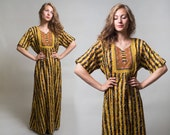 Cotton Gauze Kutchi Afghani dress / Printed Vintage dress / Hippie Boho Ethnic tent dress / Made in India / Size Small - Medium - Large