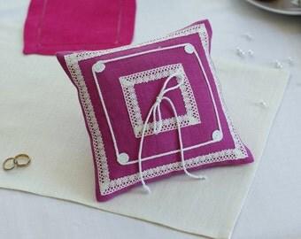 Pink Linen Wedding Ring Pillow , Ring Bearer Pillow , Wedding Pillow Decorations,