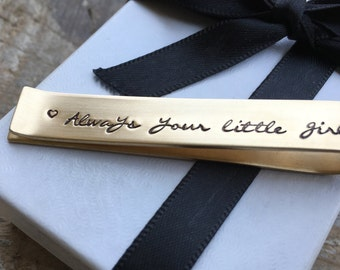 Always Your Little Girl Father Of The Bride Tie Bar Gift, Wedding Gift From Bride, Stamped Tie Bar, Personalized Wedding Gift From Bride