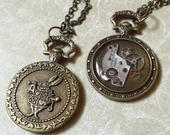 Small Pocket Watch ALICE IN WONDERLAND Gears Steampunk Necklace Pendant (or Keychain) Resin Unusual