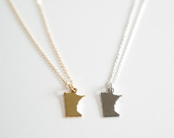 Minnesota Tiny State Charm Necklace - Midwest Charm - 18k Gold or Silver (Rhodium) Plated