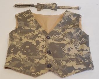 Baby boys or toddlers Army camo vest. Military vest for boy ACU camo vest for Army homecoming. Digicam  vest in sizes nb/3 month through 2T