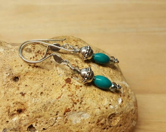 Bali silver Turquoise earrings. Reiki jewelry uk. December Birthstone dangle earrings