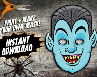 PRINTABLE Vampire Mask, kids paper Dracula halloween mask, paper monster mask, DIY halloween costume parties, instant download PDF