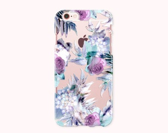 Floral iPhone 7 Case, iPhone 7 Plus Case, iPhone 6/6S Case, iPhone 6/6S Plus Case, iPhone 5/5S/SE Case, SAMSUNG Galaxy Case - Purple Roses