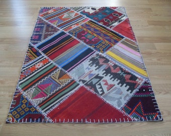 "free shipping VINTAGE PATCHWORK KILIM rug size = 38"" X 56"" ( 95 cm X 140 cm )"