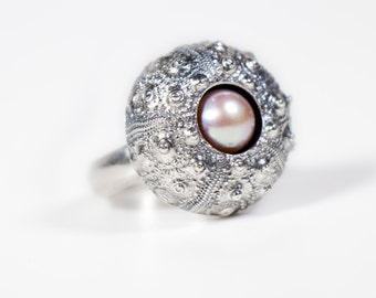 Sea Urchin Ring with Pink Pearl