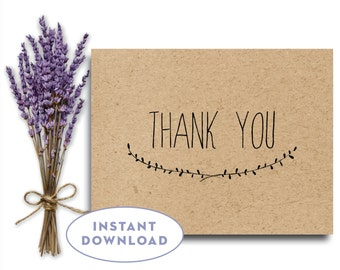 Rustic Thank You Card Instant Download, Wedding Thank You Card Printable, Simple Thank You Card, Kraft Thank You Printable, The Capistrano