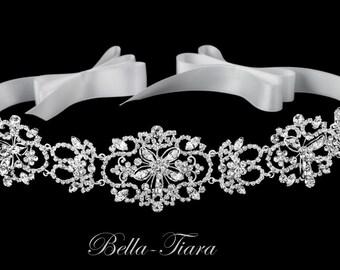 vintage wedding headband, ivory ribbon wedding headband, wedding bridal headpiece, ivory crystal rhinestone headband