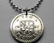 1967 Ghana 10 Pesewas coin pendant Ghanaian necklace gold LION national arms escutcheon jewelry Cocoa beans cacao West Africa No.001481