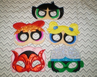 Power Puff Girls   Felt  Mask -    Party Favor, Pretend Play, Halloween