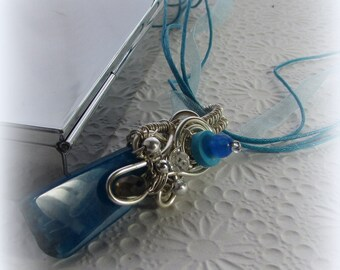 Wire Wrapped Pendant- Ocean Rock