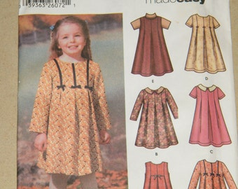 UNCUT Child's / Girls' Dress or Jumper - 6 Dresses Made Easy - SIMPLICITY 5830 - SIZE A - 2, 3, 4, 5, 6, 6X
