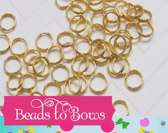 Quality Gold 8mm DOUBLE LOOP Split Rings, Qty 50 or 100 150  300  Strong Double Loop Split Rings DOUBLE Split Rings Hold There Shape