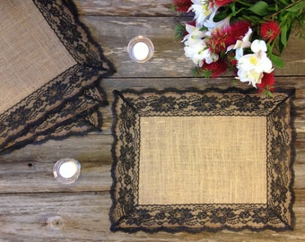 Rustic Placemats - Burlap and BLACK Lace, Wedding Placemat, Rustic Country Wedding, Country Home Decor, French Country Cottage, Shabby Chic
