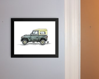 KillerBeeMoto: Hand Drawn Land Rover Pen & Ink With Water Color Effect Limited Print 1 of 100