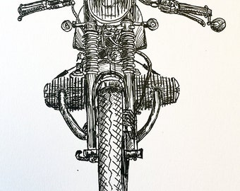 KillerBeeMoto: Original Pen Sketch Of BMW R65 Cafe Racer Motorcycle