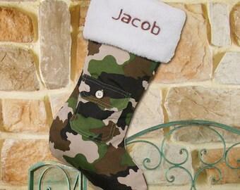 Personalized Christmas Stocking, Camouflage Stocking