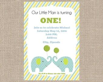 Birthday Boy Elephant Invite