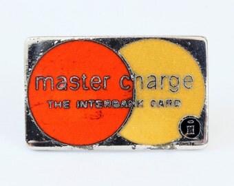 "Vtg Master Charge Tac Pin Credit Card Enamel Predates 1979 .75"" Wide"