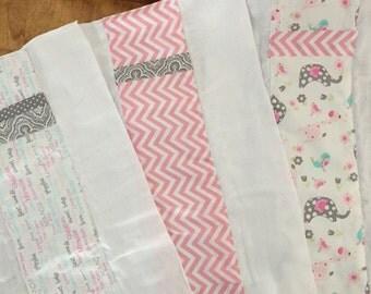 Set of 3 coordinating diaper burp cloths