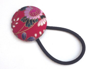 Japanese hair elastic, red hair elastic, kiku, covered Button Hair Elastic, Japanese pattern fabric, Japanese gift ideas