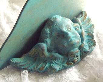 MBS Vintage Blue/Gold Cherub Wall Shelf, Made In Italy Cherub Shelf, Regency, French Country Wall Decor