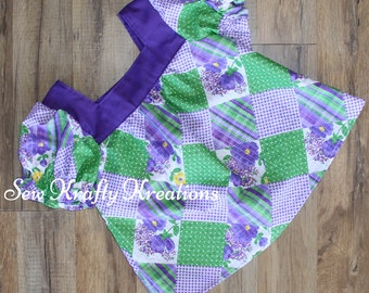 Girl's Top - Purple and Green Patchwork - Elastic Sleeve Top
