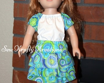 """White with Green/Blue Swirl Sleeves Top and Matching Skirt for 18"""" doll like American Girl"""