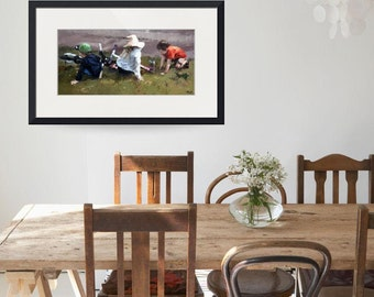 Limited edition print, original art, impressionist painting, living room art, modern, palette knife painting, wall art, 'Bikes & Scooters'.