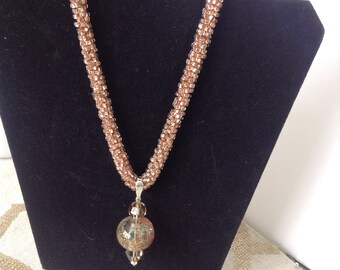 Bead crotchet and hand blown glass necklace