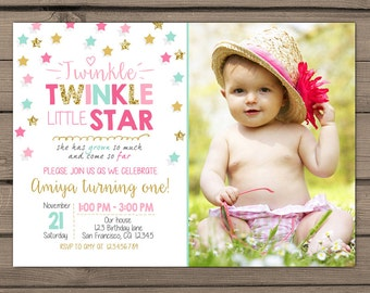 Twinkle Twinkle Little Star Birthday Invitation First birthday Girl birthday Blush pink gold mint teal photo Digital PRINTABLE ANY AGE