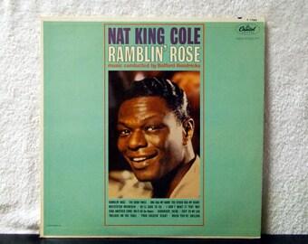 Nat King Cole- Ramblin' Rose. 1962 Capitol Records Mono T 1793 vinyl LP 33. Goodnight Irene, Skip To My Lou, Your Cheatin' Heart....
