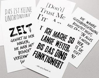 "cute as a button ""Typo-Postkarten-Set »Spruchreif"" Postkarten 5er-Set"