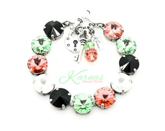 SUNBATHING BEAUTY 12mm Crystal Rivoli Bracelet Made With Swarovski Elements *Pick Your Finish *Karnas Design Studio *Free Shipping*