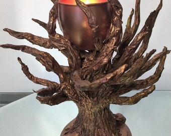 Copper Painted Tree Candle Holder