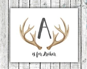Nursery Art Monogram, Antlers, Baby Boy, Personalized, Digital Download Size 8x10 #5