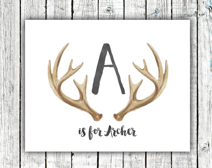 Nursery Art Monogram, Antlers, Baby Boy, Personalized, Digital Download Size 8x10 #5