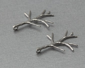 Twig Brass Pendant . Matte Original Rhodium Plated . 10 Pieces / C1236S-010