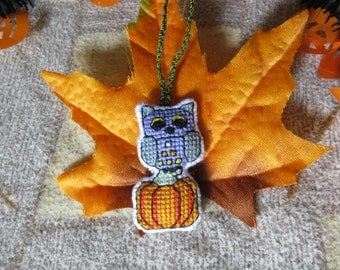 Autumn Owl with Candy Corn Themed Tail and Harvest Pumpkin Charm by DaraCreek (for Keychains, Bags, Purses, and/or Zippers)
