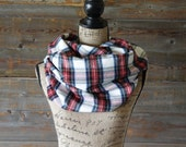 Infinity Scarf, Red White and Blue Plaid Infinity Scarf, Winter Scarf, Womens Scarf, Flannel Scarf, Circle Scarf, Chunky Scarf