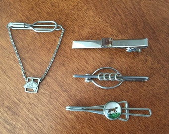 Lot Of Interesting Vintage Tie Clips Horse Head/Dog Running