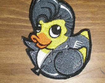"Embroidered Patch - Greaser Duckie / Rubber Ducky - sew or glue on 5x4"" or 3 x 3"""