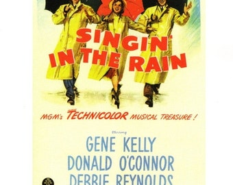 "50% Off Estate Sale Vintage Singin in the Rain Poster, 1952 Gene Kelly, PM010, Debbie Reynolds, 11"" x 14""  Print, Musical"