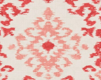 Coral Ikat Damask Organic Fabric - By The Yard - Boy / Girl / Gender Neutral