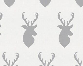Silver Gray Deer Head Organic Fabric - By The Yard - Girl / Boy / Neutral