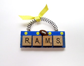 RAMS Football Scrabble Tile Ornament