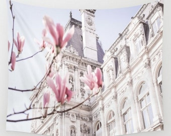 Wall Tapestry, Home Decor, Large Size Wall Art, Photo Tapestry, Paris Tapestry, Living Room Wall Art, Hotel de Ville, Paris, Spring, Dorm